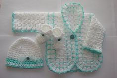 Baby Boy Crochet Sweater Hat Booties Set