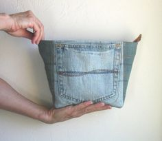 Upcycled blue jean denim zipper clutch bag by karenlukacs on Etsy