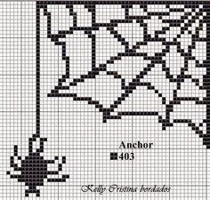 Spider Web x-stitch Cross Stitch Designs, Cross Stitch Patterns, Cross Stitching, Cross Stitch Embroidery, Graph Paper Art, Halloween Cross Stitches, Bobble Stitch, Halloween Crochet, Sewing Art