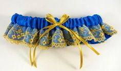 Royal Blue Garter w/Gold Lace