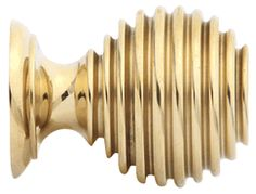 1 3/8 Inch Solid Brass Art Deco Round Knob(Polished Brass Finish)