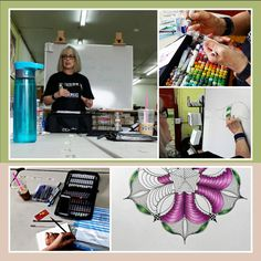 Trisha White teaching alcohol markers at dots 'n doodles