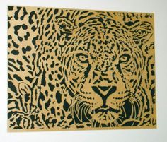 Leopard poster wall art handmade with oak wood in black lacquer frame  | KevsKrafts - Woodworking on ArtFire