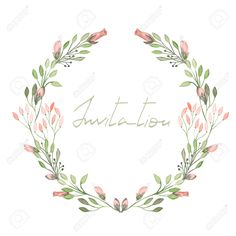 47672615-Circle-frame-wreath-of-pink-flowers-and-branches-with-green-leaves-painted-in-watercolor-on-a-white--Stock-Photo.jpg (1300×1300)