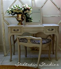 Ethereal Pale Grey French Provincial Desk Vanity with Bench