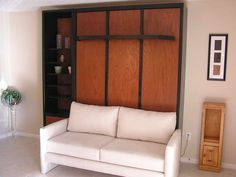 Murphy Bed, Sofa Bed Or Murphy Beds With Sofa?: Murphy Beds Sofa With White Pillows – Bloombety Furniture, Murphy Bed Couch, Sofa Bed, Bed Wall, Small Bedroom Furniture, Bedroom Furniture, Couch Bed, Decorate Your Room, Furniture Layout