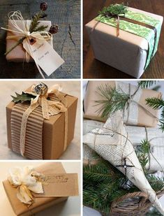 Christmas wrapping ideas - different textures and materials, Brown paper, Holly, layers Wrapping Ideas, Creative Gift Wrapping, Paper Wrapping, Wrapping Presents, Noel Christmas, All Things Christmas, Winter Christmas, Rustic Christmas, Christmas Gift Wrapping