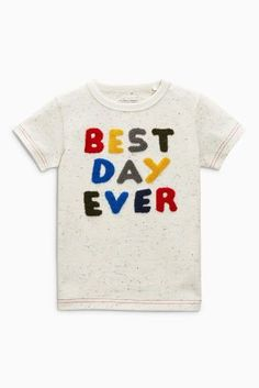 Buy Ecru Nep Best Day Ever Short Sleeve T-Shirts Three Pack (3mths-6yrs) from the Next UK online shop
