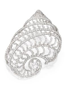 CARNET | Diamond Nautilus Brooch set in white gold. Signed.