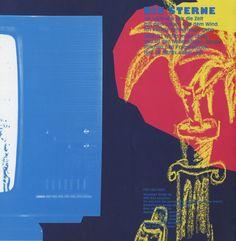 """Die Sterne, Single Cover Rückseite, 1988, Fast Weltweit  """"Ein verregneter Sommer (Tief über Irland)"""", """"Ich will Dich""""  Mirko Breder,Frank Spilker  Design© Susanne Beimfohr, 1988"""