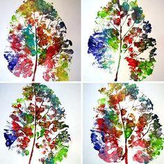 empreintes de feuilles avec de la peinture                                                                                                                                                                                 Plus