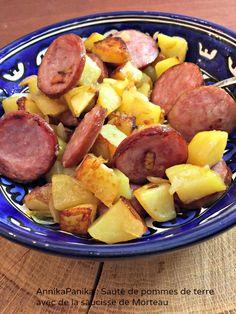 Une recette de poêlé de pommes de terre à la saucisse de Morteau piqué dans le dernier magazine Marmiton. Toute simple cette recette, fallait juste y penser.
