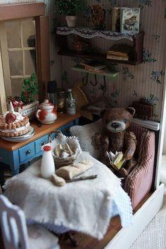 """Купить румбокс """"берлога"""" - желтый, кукольная миниатюра, кукольный дом, кукольная мебель, кукольная еда"""