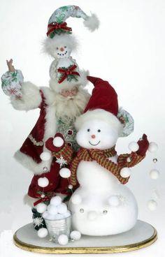 Snowman Santa by Mark Roberts Pink Christmas, Christmas Snowman, All Things Christmas, Christmas Crafts, Christmas Ideas, Mark Roberts Fairies, Santa Doll, Santa Figurines, Polymer Clay Dolls