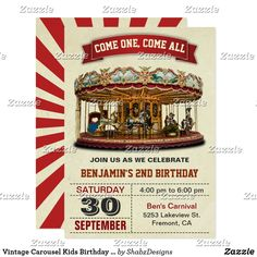 Shop Vintage Carousel Kids Birthday Party Invitation created by ShabzDesigns. Personalize it with photos & text or purchase as is! Carousel Party, Carousel Birthday, Circus Birthday, Circus Party, 10th Birthday, Kids Birthday Party Invitations, Carnival Birthday Parties, Birthday Party Themes, Carnival Wedding