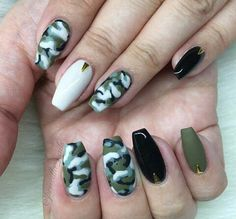 almond nails army green  nail design  pinterest  almond