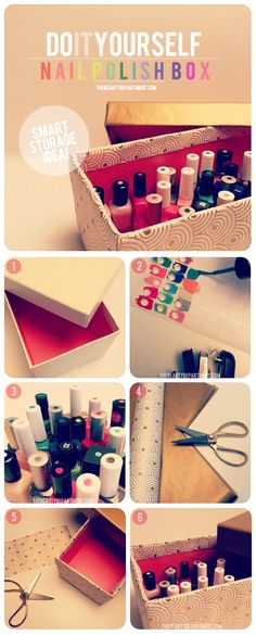 Here's a great way to store your nail polish and to be able to see each color when you open the box.