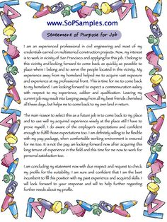Statement Of Purpose Format For Job | Statement Of Purpose Format For Job |  Pinterest