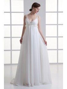 Chiffon V-Neckline Column Floor Length Embroidered Wedding Dress