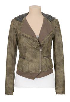 Hooded Asymmetrical Zip Moto Jacket