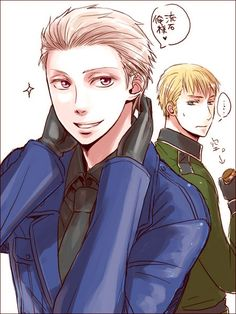 """Germany and Prussia """"BEHOLD MIEN AWESOME SLICKED-BACK-HAIR GLORIOUSNESS!"""" ....""""Also, I look at least a million times better than germany!"""""""