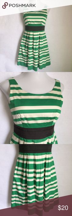 ✨NEW Listing✨The Limited striped a-line dress The Limited green & cream striped dress with black colorblock waistband. A-line silhouette. Back zipper, hidden side pockets. Size 6. Not interest in trades. The Limited Dresses