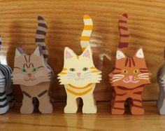 Wooden Cat Figurine - Tabby Patterns - Custom Made