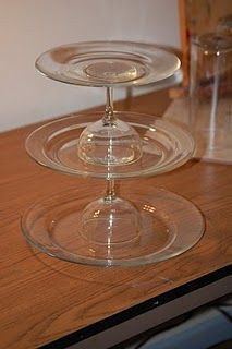 Plate and wineglass cupcake stand, just saw all the materials yesterday at dollar tree!