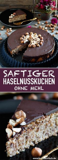 Haselnusskuchen ohne Mehl - www.de recipe without eggs Saftiger Haselnusskuchen ohne Mehl - emmikochteinfach Easy Cheesecake Recipes, Easy Cookie Recipes, Dessert Recipes, Easter Recipes, Brunch Recipes, Homemade Cheesecake, Recipes Dinner, Chocolate Cookie Recipes, Chocolate Chip Cookies