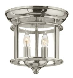 Hinkley Lighting 3472 2 Light Semi-Flush Ceiling Fixture from the Gentry Collect Polished Nickel Indoor Lighting Ceiling Fixtures Semi-Flush
