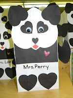 Panda Gift/Valentine Bags - Most of the parts are made from hearts! I think this would be a great project for me and the bean Valentines Day Bags, Valentine Box, Valentine Day Crafts, Holiday Crafts, Valentines Bricolage, Panda Gifts, Valentine Activities, Preschool Crafts, Fun Crafts