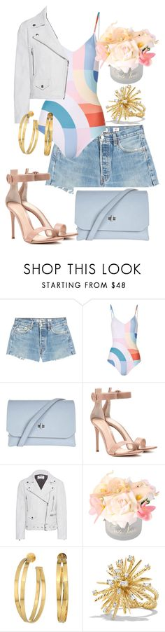 """Spring Has Sprung Style"" by stylistinme ❤ liked on Polyvore featuring RE/DONE, Mara Hoffman, Topshop, Gianvito Rossi, Acne Studios, Tory Burch and David Yurman"