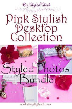 Stock photos bundle - Pink Stylish Desktop Collection for profitable marketing activities.