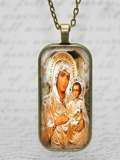 Our Lady of Sign Theotokos Greece Icon Orthodox Necklace