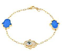 18K Gold ptd Sterling Silver Evil Eye & Hamsa Created  Opal wCZ Bracelet