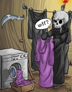 My favorite WTF scenario ever! Love my reapers! Denis Zilber, Terry Pratchett Discworld, Arte Obscura, Cartoon Jokes, Angel Of Death, The Grim, Grim Reaper, Halloween Fun, Halloween Humor