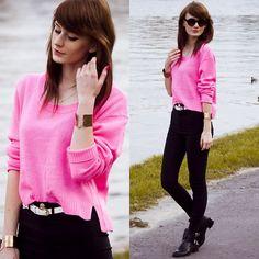 H&M Sweater, H&M Pants, Shoes, Necklace, Sunglasses