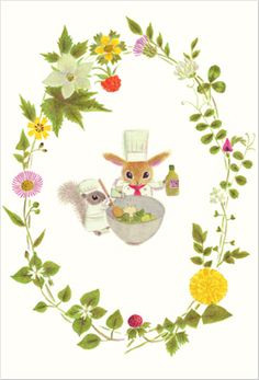 "Postcard ""spring salad"" by Mayumi Maeda from""LINNET"" Art Corner, Art Et Illustration, Woodland Creatures, Japanese Design, Illustrations And Posters, Whimsical Art, Cute Drawings, Cute Art, Images"