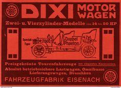 Werbung - Original-Werbung / Anzeige 1908 - DIXI MOTORWAGEN / FAHRZEUGFABRIK EISENACH - ca. 180 x 120 mm