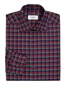ETON PLAID PATTERN DRESS SHIRT. #eton #cloth #