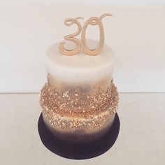 Black gold and white 30th birthday cake. Happy birthday Sabreen! #blackandgoldcake #sweettheacakes