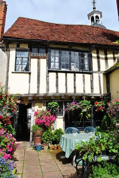 The 15th century Clock House Tea Rooms at Coggeshall, Essex