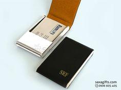 Hộp namecard da in logo kiểu đứng nắp bật đơn giản – ND034