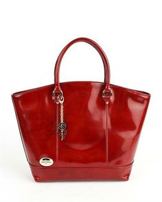 Carbotti Glossy Leather Tote Made In Italy