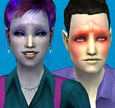 There are two sets of 'alien gene' makeup sets, which appear under blush and are layerable but not with each other. One set is scales by me, and the other is Ronya's alien forehead texture. Both the sims in the image above are wearing both of these blushes, to show you what they look like together - 2010.06 - Creature Feature | by: Nymphy