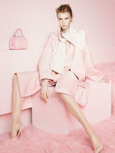 Candylike Pastel Coats to Brighten Up Fall - T Magazine Blush Rose - Dior jacket; Graff necklace and earrings, Giorgio Armani bag, Nina Ricci gloves, Bottega Veneta heels Model: Sigrid Agren