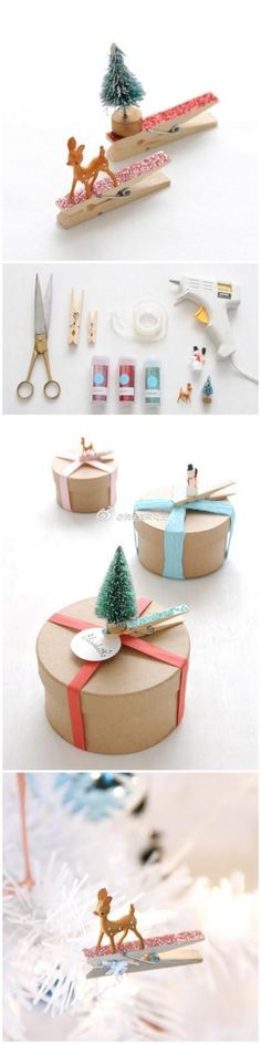 Clothespin present toppers