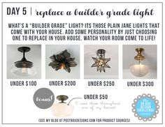 30 Day Design Challenge: Day 5 Replace a Builder Grade Light with a Fabulous Light Fixture by Postbox Designs