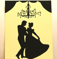 "CINDERELLA Custom Disney Silhouette Princess Handmade Painting on 11x14"" Canvas Panel"