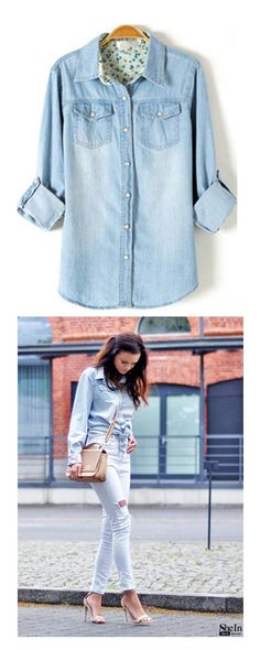 Who said denim shirt & blouse is just for men ? Womens denim shirt & blouse will make a cool outfit ! Boyfriend or tunic blouse for denim jeans blouse is all good style !